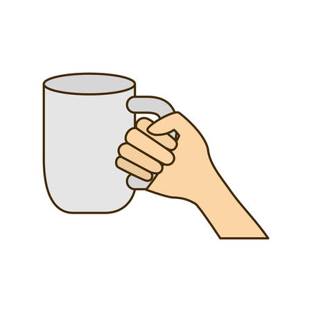 hand with cup of coffee with white background vector illustration design Stock Illustratie