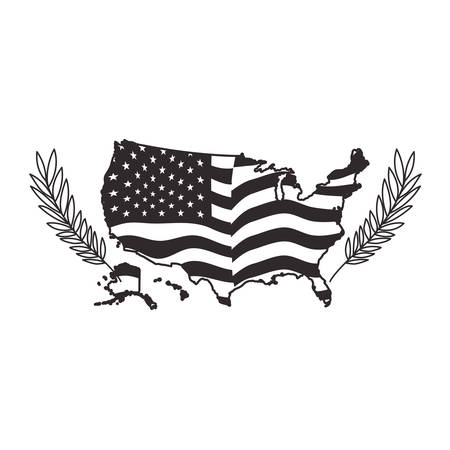 united states of america map with flag vector illustration design  イラスト・ベクター素材