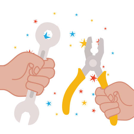 hand with plier and wrench isolated icon vector illustration design