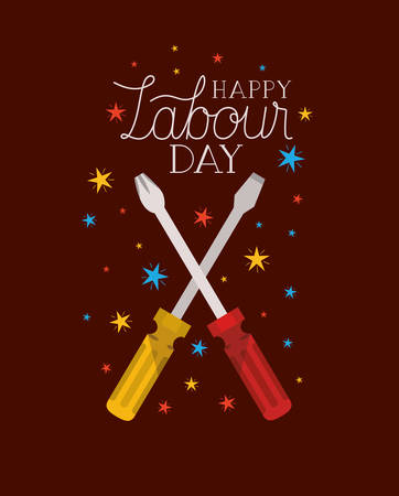 screwdriver tools labour day vector illustration design Stock Illustratie