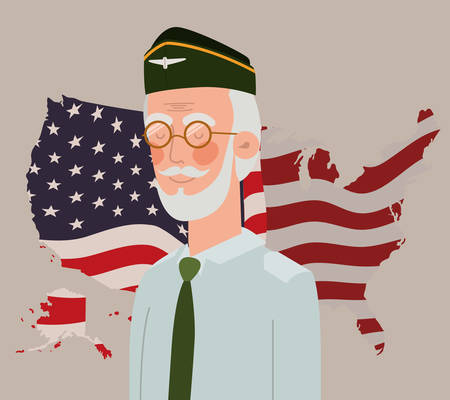 memorial day card with veteran and usa flag in map vector illustration design  イラスト・ベクター素材