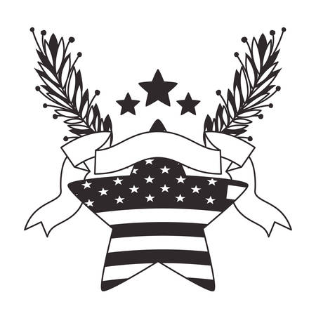 star and ribbon wreath with united states of america flag vector illustration design Ilustrace