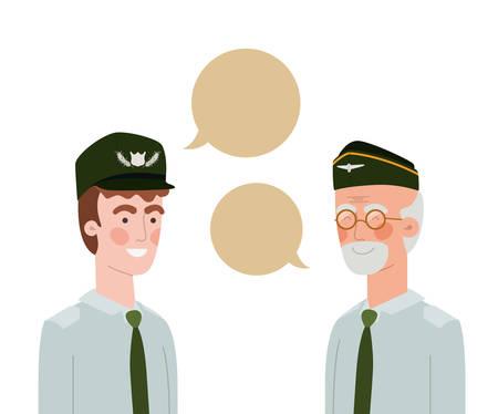 Los hombres soldados de guerra con burbujas de discurso, diseño de ilustraciones vectoriales