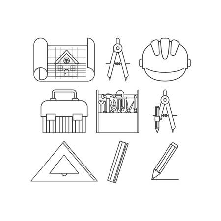 construction tools set items vector illustration design Stock Illustratie