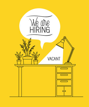 office workplace with we are hiring message vector illustration design