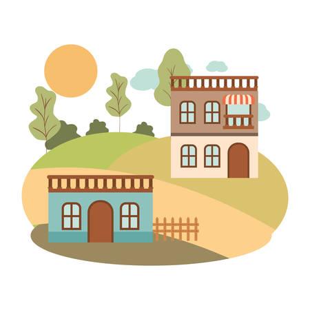 neighborhood houses in landscape isolated icon vector illustration design Illusztráció