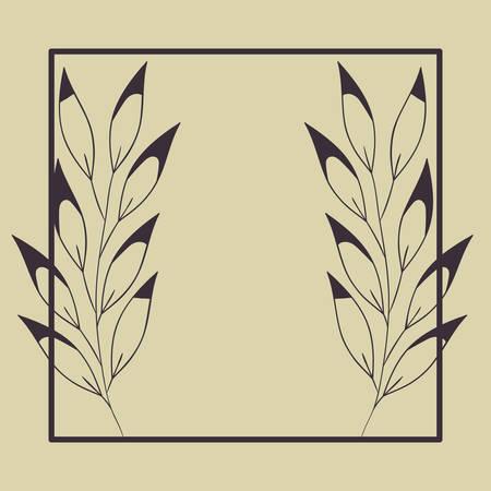 square frame with spring leafs vector illustration design