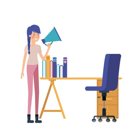 woman in the work office with white background vector illustration design Ilustracja