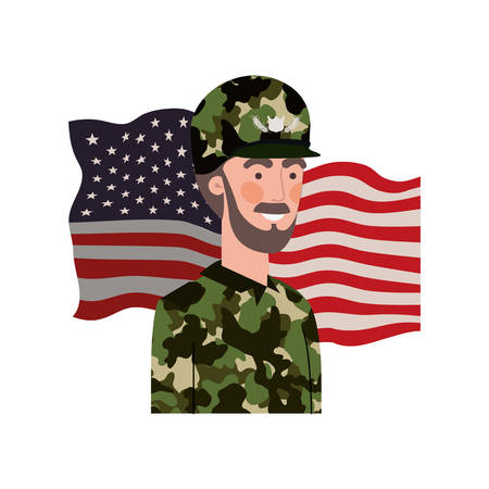 man soldier of war with flag of united states background vector illustration design