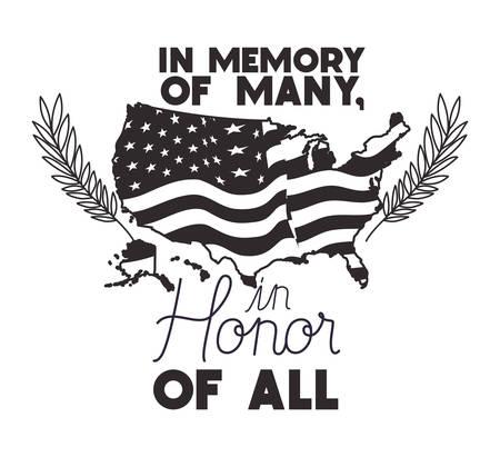 usa map with flag of memorial day emblem vector illustration design