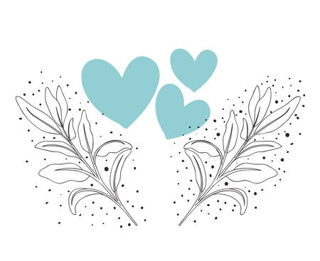 garland of heart with flowers isolated icon vector illustration desing Archivio Fotografico - 129160417