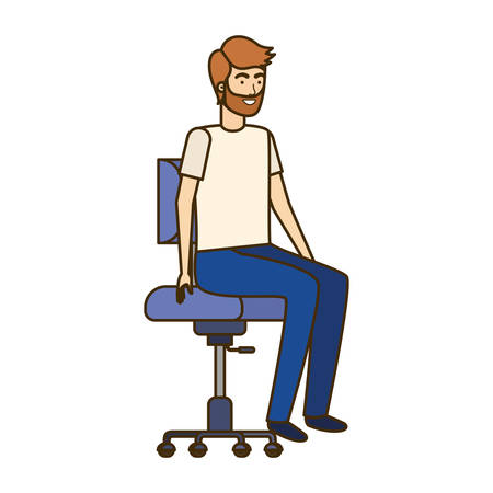 man with sitting in office chair avatar character vector illustration design Banque d'images - 129153559