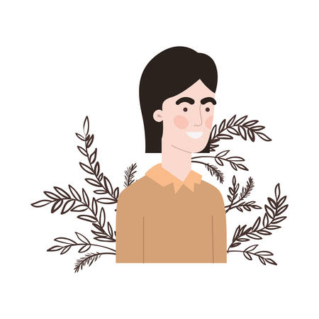 young man with branch with leaf character vector illustration design 向量圖像