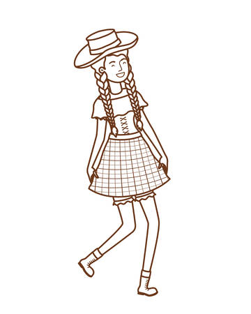 woman farmer dancing with straw hat vector illustration design
