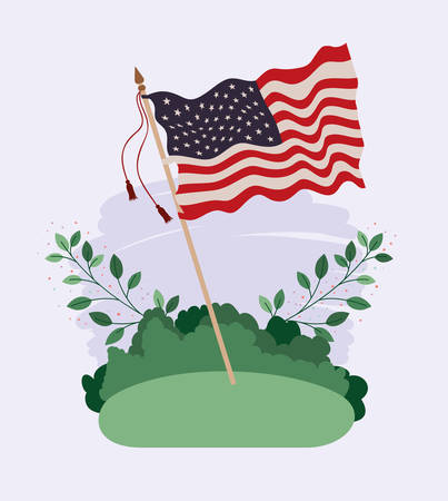 united states of america flag waving in the field vector illustration design Ilustrace