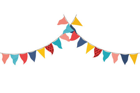party garland hanging isolated icon vector illustration desing Stock Illustratie