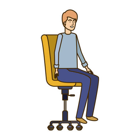 man with sitting in office chair avatar character vector illustration design Banque d'images - 129156007