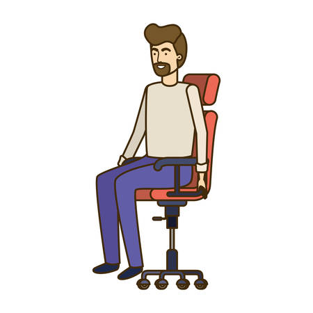 man with sitting in office chair avatar character vector illustration design Banque d'images - 129156085