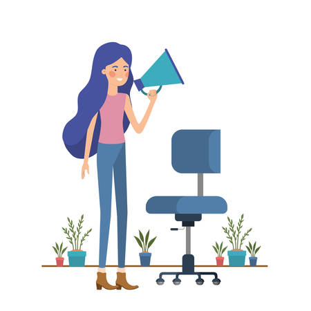 woman with chair in white background vector illustration design Banque d'images - 129156126