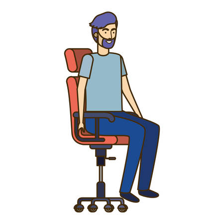 man with sitting in office chair avatar character vector illustration design Banque d'images - 129165580