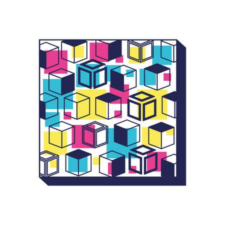 colorfull geometrics figures and lines ninetys pattern vector illustration design