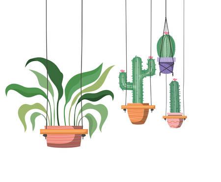 houseplants on macrame hangers icon vector illustration design Illusztráció
