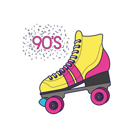 skate rollers ninetys icon vector illustration design Illusztráció
