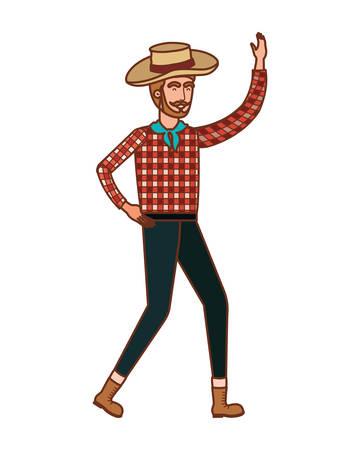 man farmer dancing with straw hat vector illustration design