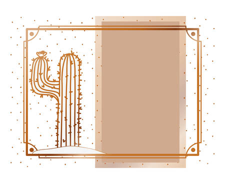 pattern cactus with frame golden isolated icon vector illustration design Illustration