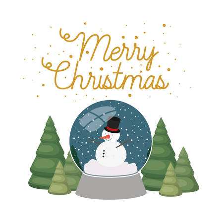 snowman and christmas pine in crystal ball isolated icon vector illustration design Illustration