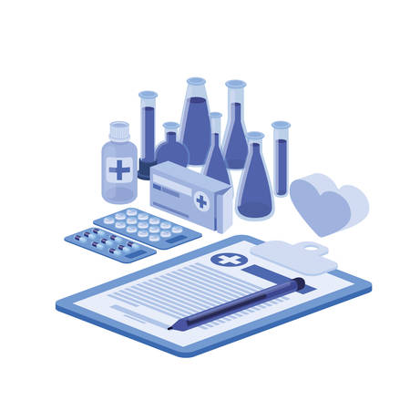 laboratory instruments in white background vector illustration design Vectores