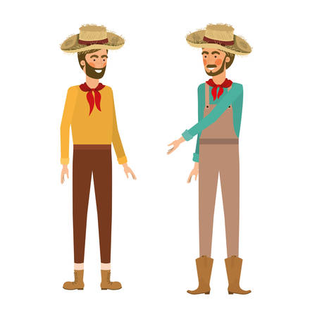 farmers men talking with straw hat vector illustration design Ilustração