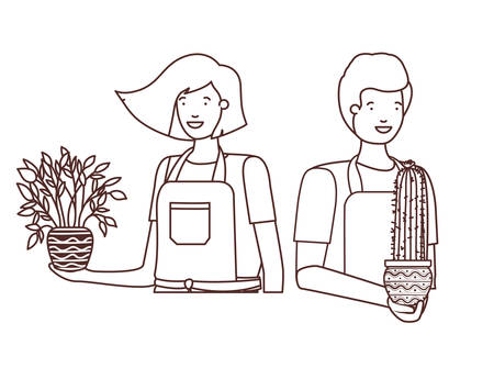 young couple with houseplant avatar character vector illustration design
