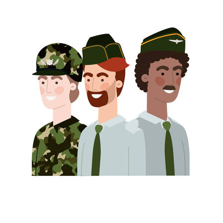 men soldiers of war avatar character vector illustration design Vettoriali