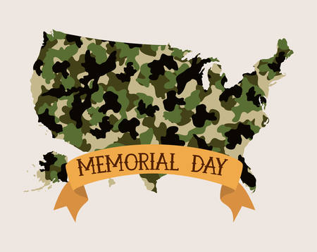 usa map with camouflage and tape of memorial day emblemvector illustration