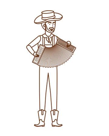 farmer man with musical instrument vector illustration design