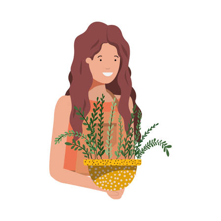 woman with houseplant avatar character vector illustration design