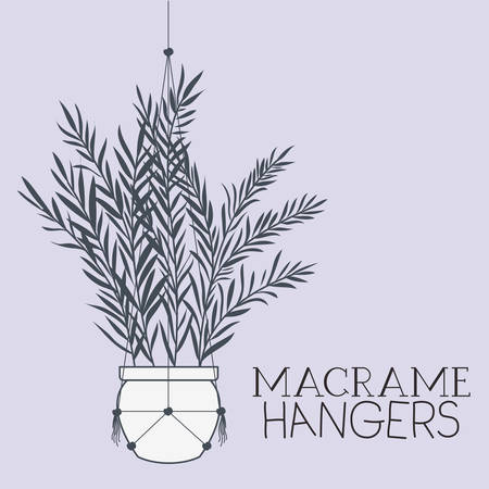 houseplant in macrame hangers vector illustration design Standard-Bild - 129169952