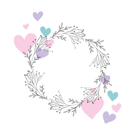 garland with flowers and leafs isolated icon Archivio Fotografico - 129171526