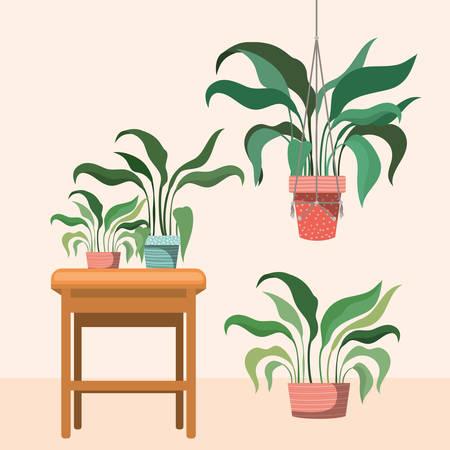 houseplants in macrame hangers and wooden chair vector illustration design Standard-Bild - 129172824