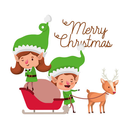 elves couple with sleigh and reindeer avatar chatacter vector illustration design