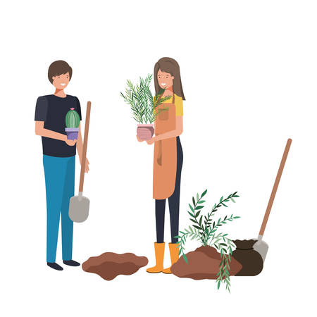 couple with trees to plant avatar character vector illustration design Фото со стока - 129184861