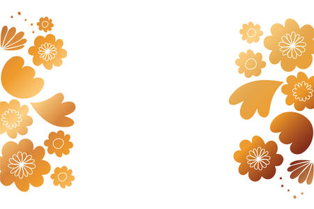 frame with flowers and leafs golden vector illustration design 일러스트
