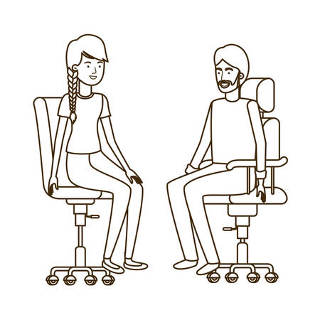couple with sitting in office chair avatar character vector illustration design Banque d'images - 129185239