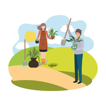 couple with trees to plant in landscape vector illustration design Фото со стока - 129174072