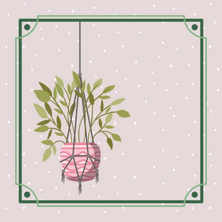 frame with houseplant hanging in macrame vector illustration design Illustration