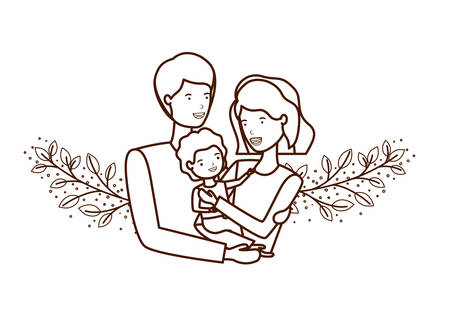 couple of parents with son avatar character vector illustration design