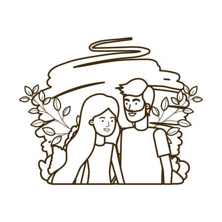 young couple with landscape avatar character vector illustration design Foto de archivo - 129174215