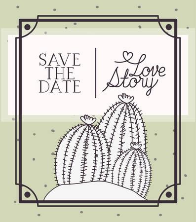 love story card with marine sponge algae scene vector illustration design