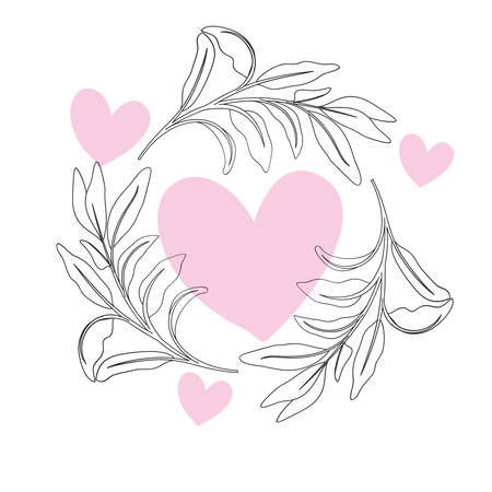 garland of heart with flowers isolated icon vector illustration desing